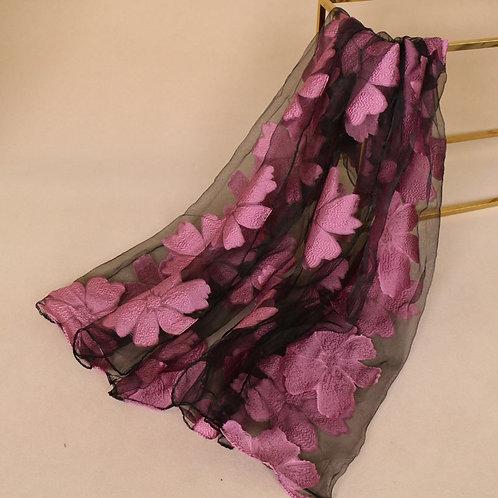 Maryam's Diamond Style Floral Organza Hijab/Shawl