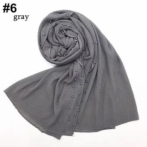 Maryam's Diamond Style New Design Plain Chiffon Crinkle with Pearls Hijab