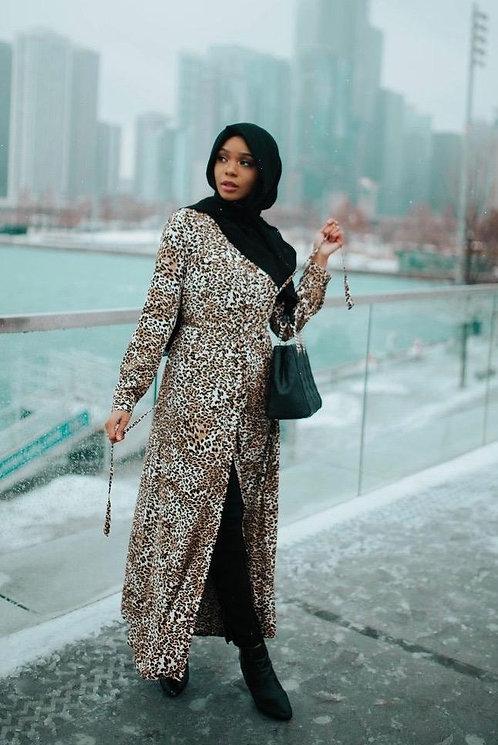 Maryam's Diamond Style Rhinestones Leopard Print Button Down Maxi Shirt Dress