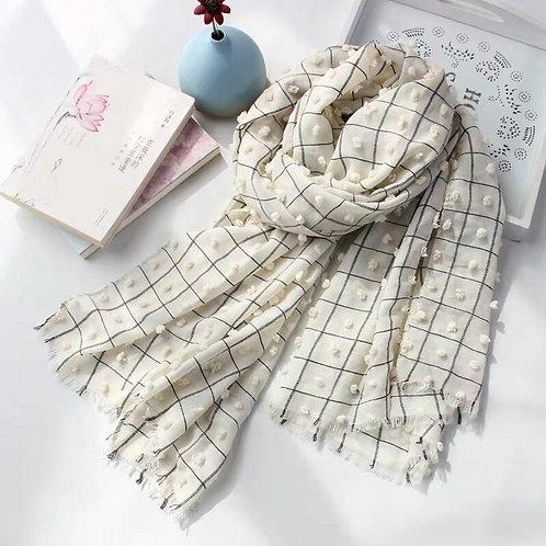 Maryam's Diamond Style Plain Checked Cotton Crinkle Hijab