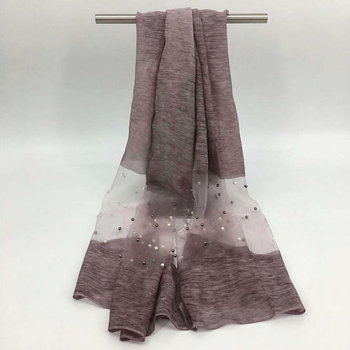 Maryam's Diamond Style Organza Pearl Soft Hijab/Shawl