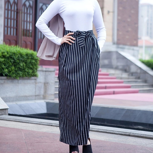 Maryam's Diamond Style Pinned Stripped Maxi Skirt