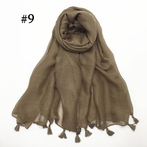 Maryam's Diamond Style Plain Viscose Tassels Hijabs