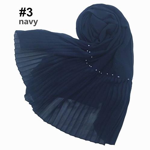 Maryam's Diamond Style Lurex Pleated Chiffon Crinkle with Beads Hijab