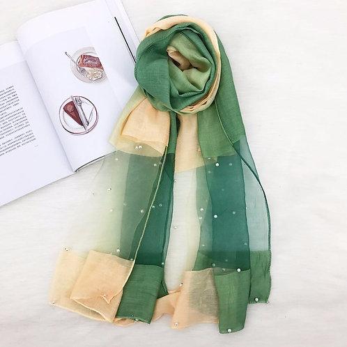 Maryam's DiamondStyle OmbreStunning Organza Shawls with Pearls Hijab