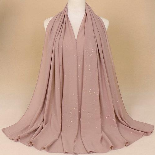 Maryam's Diamond Style Plain Chiffon Hijab with Silver Dot Hijab