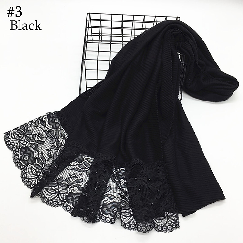 Maryam's Diamond Style Plain Cotton Viscose Lace Edge Wrinkle with Pearls Hijab
