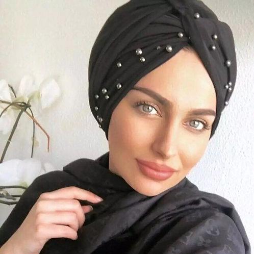 Maryam's Diamond Style Pearls Suede Turban Wrap/Cap