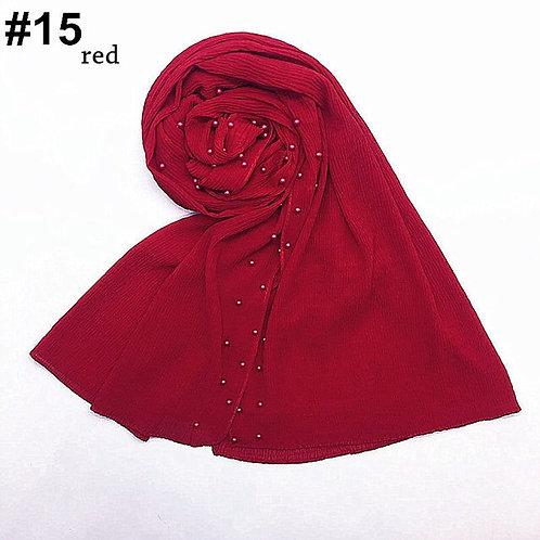 Maryam's Diamond Style New Design Plain Chiffon Crinkle with Pearls Hija