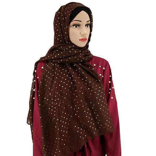 Maryam's Diamond Style Gold Glitter Dot Cotton Hijab