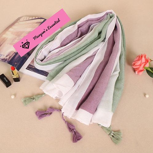 Maryam's Diamond Style Gradual Colour Tassels Soft Cotton Hijab
