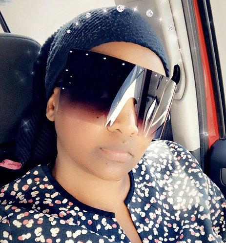 Maryam's Diamond Brand Oversize Anti - Glare Privacy Shield Style Sunglasses