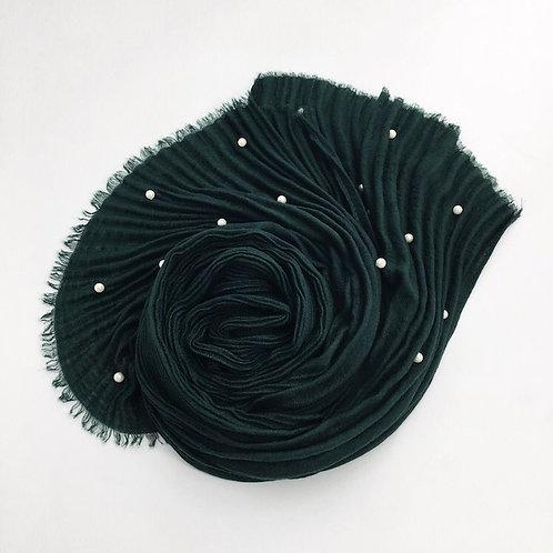 Maryam's Diamond Style Latest Cotton Viscose Pleated Crinkle with Pearls Hijab