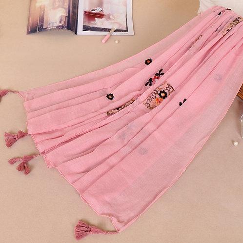 Maryam's Diamond Style Latest Gradual Colour Tassels Soft Cotton Hijab