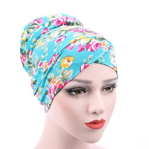 Maryam's Diamond Style Stretchy Turban Flower Print