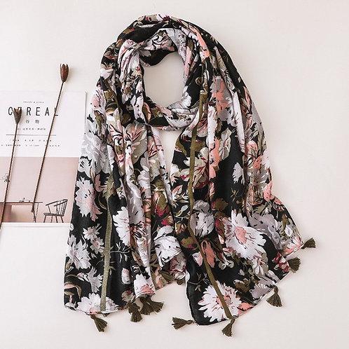 Maryam's Diamond Style Floral Printed Cotton Tassel Hijabs