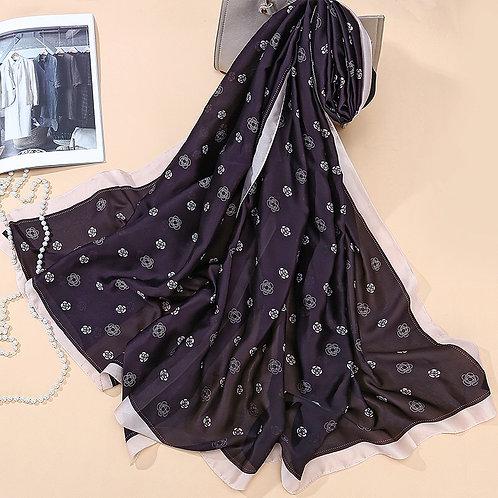 Maryam's Diamond Style Latest Silk Satin Soft Floral Print Arab Shawl/Hijab