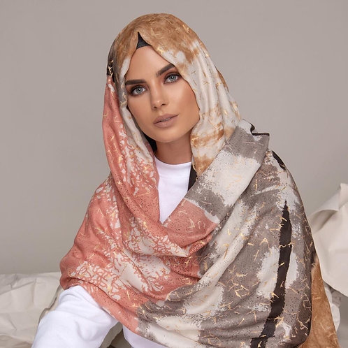 Maryam's Diamond Style Printed Floral Cotton  Hijab/Shawl
