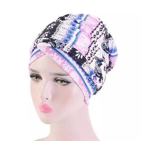 Maryam's Diamond Style Printed Cotton Turban and Head Wrap/Cap