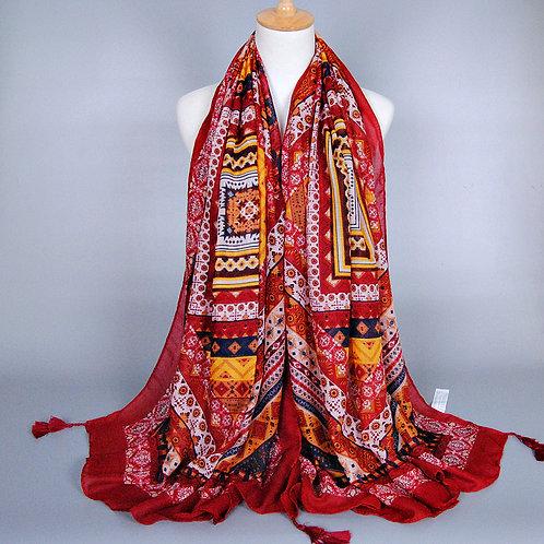 Maryam's Diamond Style Exotic Paisley Tassels Print Viscose Hijab/Shawl