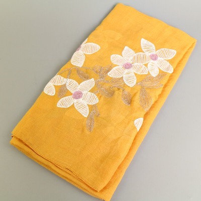 Maryam's Diamond Style Lilies Embroidered Cotton Hijab/Scarf