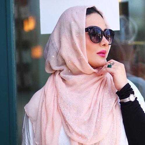 Maryam's Diamond Style Cotton Viscose with Pearls And Silver Stones Hijab