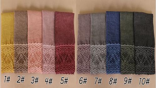 Maryam's Diamond Style Plain Cotton Lace Edge Hijab