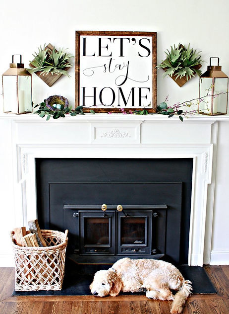 Lets-Stay-Home-Mantel-with-brass-laterns