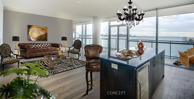 Transitional Living Room Virtually Staged