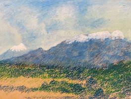 """Volcán Popocatépetl"" - pastel de óleo, 2007/ ""Popocatépetl volcano"" - oil pastel, 2007."
