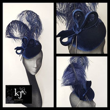 Velvet Percher with Ostrich Plume