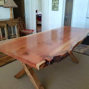 027A - Single Slab California Red Wood Harvest Table - Natural Finish                   - No Stain - SPECIALTY SLAB