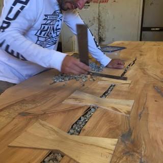 2 - Single Slab Maple Rock Inlay Live Edge Table