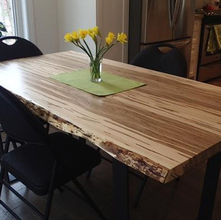 029 - Wormy Maple Live Edge Table - Natural / Clear Coat / Tapered Black Steel Leg
