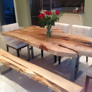 005 - Maple Live Edge Table with Matching Bench and Steel Legs - Single Slab - Natural Finish