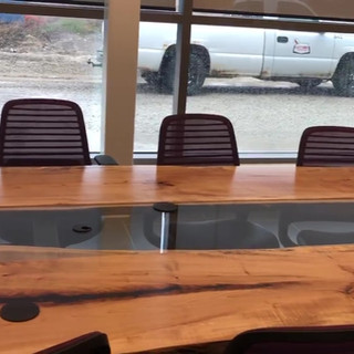 23 - Maple Live Edge Boardroom Table Conference Room Table With Glass Inlay