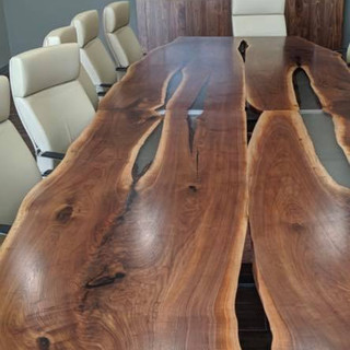 045 - Close up of 044 - Black Walnut Live Edge Conference Table