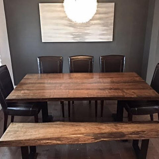 008A -  Maple Live Edge Dining Table Stained Walnut - Back to Back Steel Legs/Matching Bench
