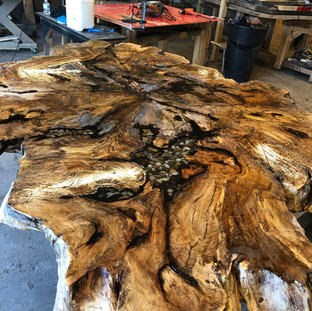 001 - 7' FULL FIGURED SPALTED MAPLE COFFEE TABLE