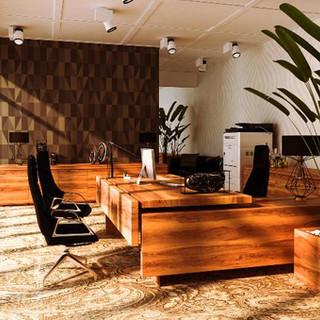 28 - Full Cherry Office - Desk, Side Storage, Planter