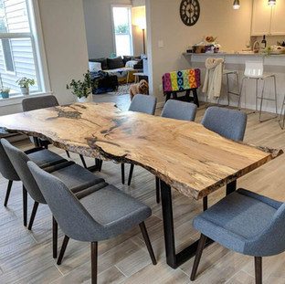 020 - Maple Single Slab Live Edge Kitchen Table- Natural Clear Coat Finish / Tapered Steel Legs