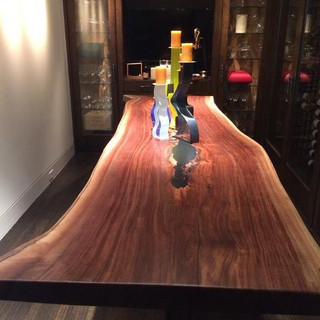 032 - Black Walnut Single Slab Bar Height Lounge Table - SPECIALTY SLAB