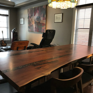 33 - Bookmatched Black Walnut Live Edge Table - Resin Inlay