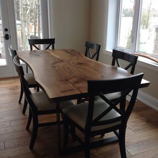 023A - Bookmatched Black Walnut Harvest Table / Back to Back L Steel Legs