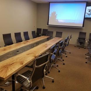 26- Maple Reversed Live Edge Boardroom Table  Clear Coat  Black Flat bar Steel Leg