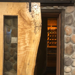 14- Wormy Maple Sliding Door with Glass Inlay
