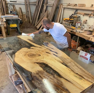 134-Solid Single Slab Of Maple Live Edge Table  - Glass Top