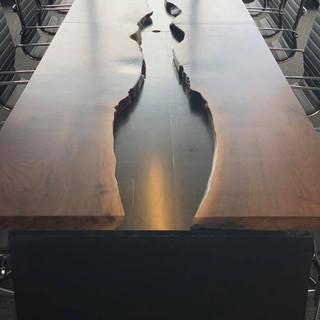 46 - Black Walnut Live Edge Conference Table Boardoom Table River Table
