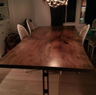 008 - Maple Live Edge Dining Table Stained Walnut - Back to Back Steel Legs