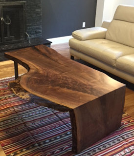 18- Black Walnut Live Edge Coffee Table with Waterfall leg
